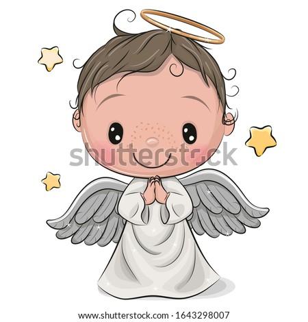 Cute Cartoon Christmas angel boy isolated on white background