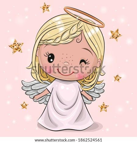 Cute Cartoon Christmas angel on a pink background