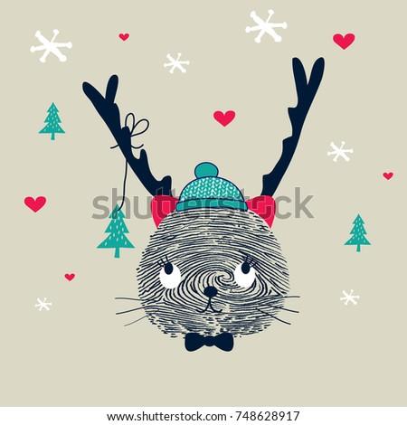 cute cartoon christmas cat with