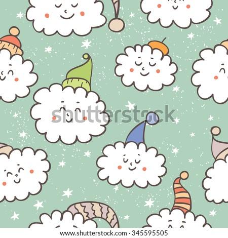 cute cartoon clouds on a