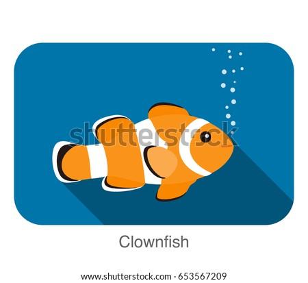 cute cartoon clownfish flat