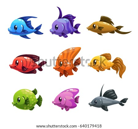 cute cartoon colorful fishes