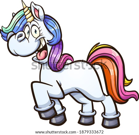 Cute cartoon colorful unicorn side view. Vector clip art illustration with simple gradients. All on a single layer.