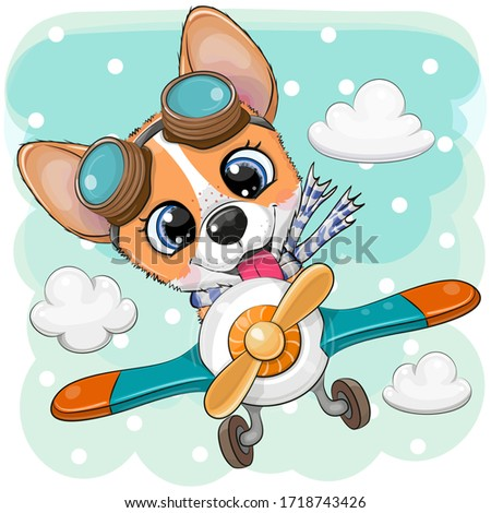 Cute Cartoon Corgi is flying on a plane