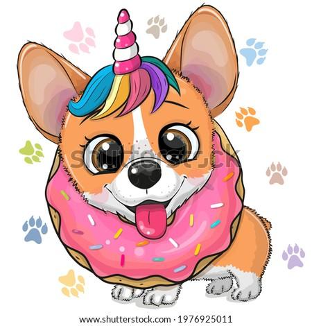 Cute Cartoon Corgi with horn of Unicorn and donut