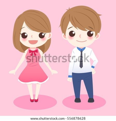 cute cartoon couple stand and