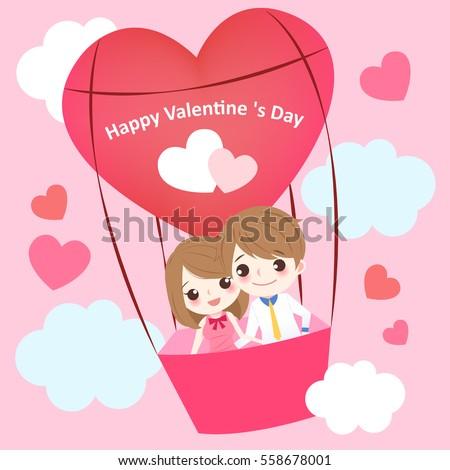 cute cartoon couple with heart