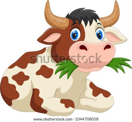 stock-vector-cute-cartoon-cow-eating-grass