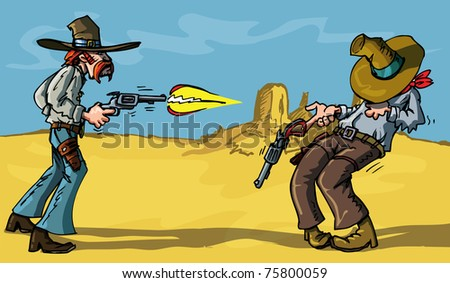 Cute cartoon cowboy holding six-guns. Isolated on distressed paper design