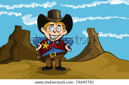 Cute cartoon cowboy smiling. He is in the desert