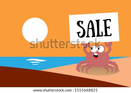 Cute cartoon crab holds sign with inscription Sale on background of sunset and sea. Beach banner for travel agencies, shops