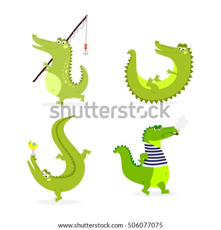 Cute cartoon crocodile character green zoo animal