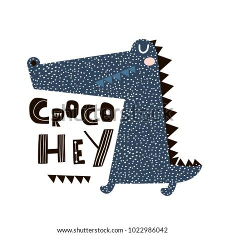 Cute cartoon crocodile print. Childish print for nursery, kids apparel,poster, postcard. Vector Illustration