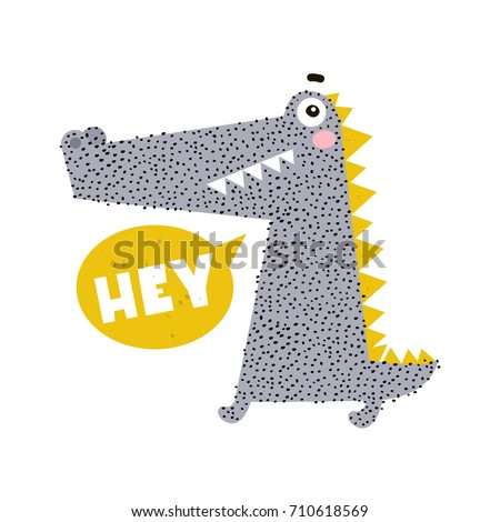 Cute cartoon crocodile print. Childish print for nursery, kids apparel,poster, postcard. Vector Illustration