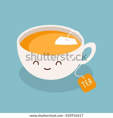 Cute cartoon cup of green tea. Vector illustration