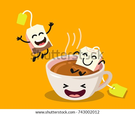 Cute cartoon cup of tea with happy tea bags on yellow background. Vector flat illustration