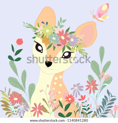 cute cartoon deer and her crown