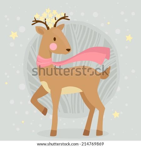 cute cartoon deer in scarf and