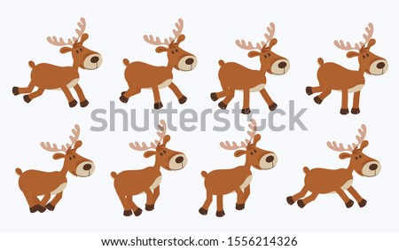 Cute cartoon deer. New Year Christmas character jumps or runs gallop, cycle for 2d animation.