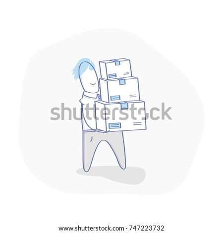 Cute cartoon delivery man, courier holding pile of cardboard boxes in front. Flat outline concept of delivery or sending of parcels, packages. Premium quality trendy icon.