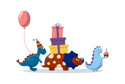 Cute cartoon dinosaurs follow each other with gifts, balloon. Birthday card. Print for baby clothes, bedding, textiles, gift wrapping, stickers.