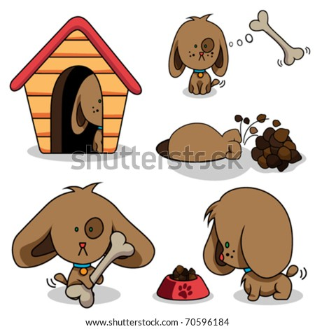 cute cartoon dog - stock vector