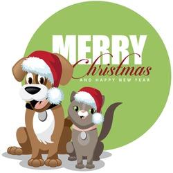 Cute cartoon dog and cat merry Christmas EPS 10 vector stock illustration