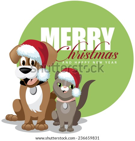 Stock Photo Cute cartoon dog and cat merry Christmas EPS 10 vector stock illustration