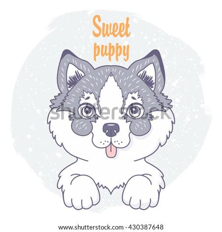 cute cartoon dog in sketch