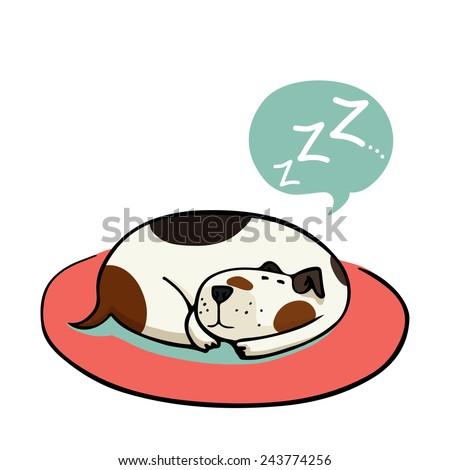 cute cartoon dog  sleeping on