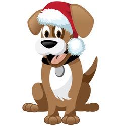 Cute cartoon dog wearing santa hat EPS 10 vector stock illustration