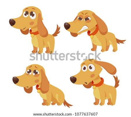 cute cartoon dog with different emotions set. happy, angry, sad, surprised. vector illustration