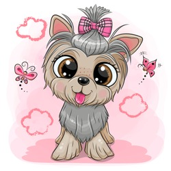 Cute cartoon Dog Yorkshire Terrier with a bow on a pink background
