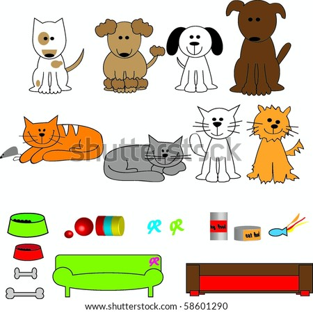 Cute cartoon dogs and cats with beds and toys