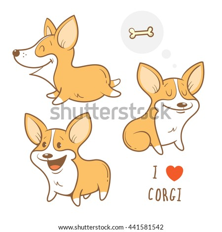 cute cartoon dogs  breed welsh