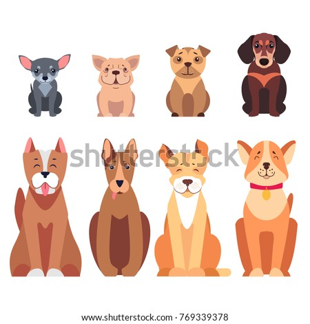 cute cartoon dogs set sitting...