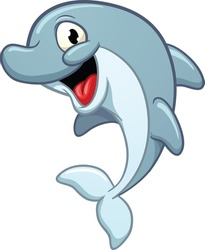 Cute cartoon dolphin. Vector illustration with simple gradients. All in a single layer.