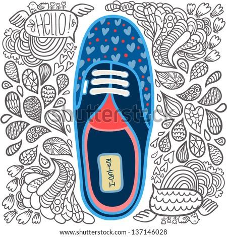 cute cartoon doodle hipster gumshoes