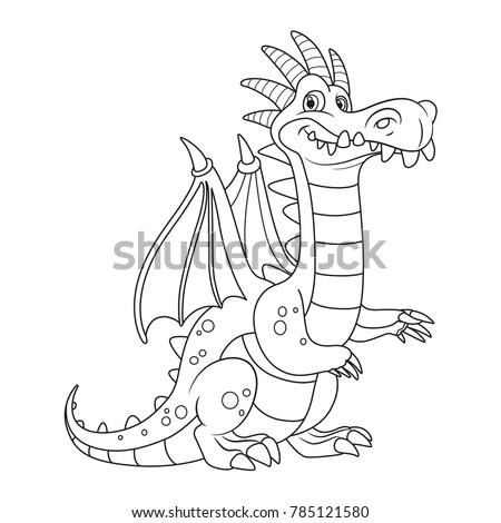 cute cartoon dragon with bone