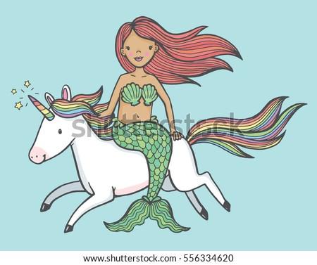 Cute cartoon drawing of a mermaid riding a unicorn