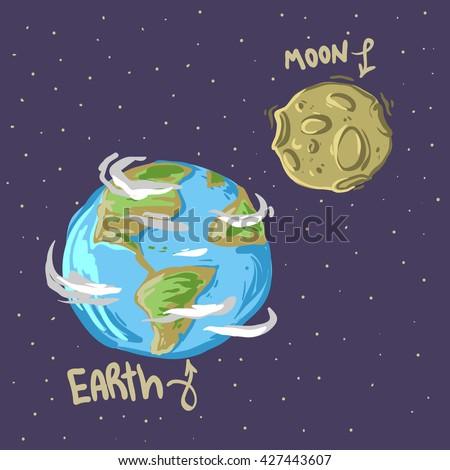 cute cartoon earth and moon