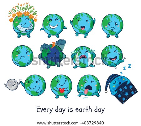 cute cartoon earth globe with