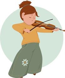 Cute cartoon elementary school girl playing violin, vector illustration, no transparencies