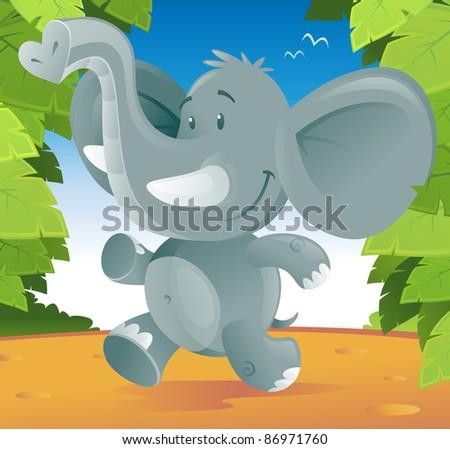Cute cartoon Elephant running through the jungle.
