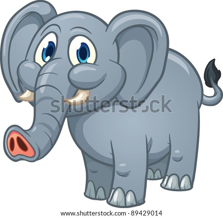 Cute cartoon elephant. Vector illustration with simple gradients. All in a single layer. - stock vector