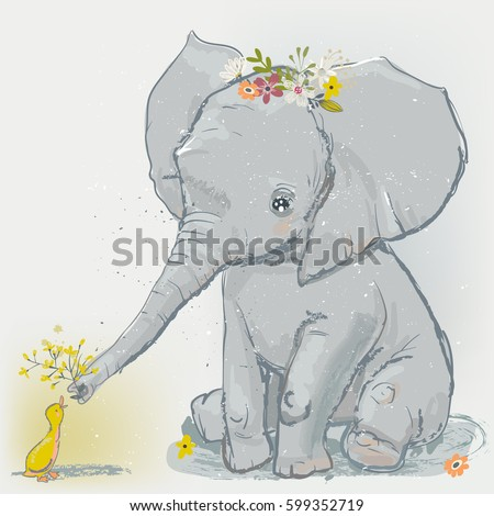 cute cartoon elephant with little duck