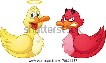 Cute cartoon evil and good duck. Vector illustration with simple gradients. Both in separate layers for easy editing.