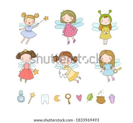 Cute cartoon fairies. Fairy elves. Childrens illustration. tooth Fairy