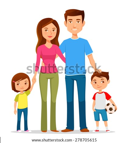 cute cartoon family in colorful