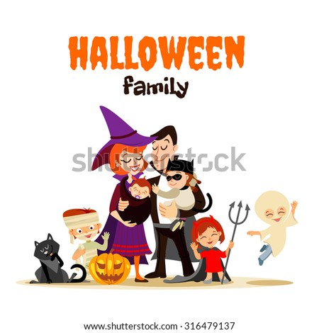 Stock Photo Cute cartoon family in various halloween costumes celebrating happy halloween. Vector illustration with cartoon characters isolated on white
